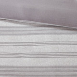 Colby Harbor Grey Stripe Queen Duvet Set close up duvet