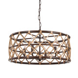 Hilo 4-Light Rattan Drum Pendant