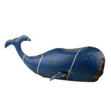 Reclaimed Blue Metal Whale - Small
