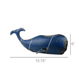 Reclaimed Blue Metal Whale - Small measurements