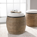Island Seagrass Wrapped Accent Stool room view