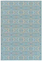 Light Blue Seaside Geometric Rug