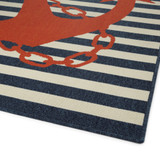 Red and Blue Striped Anchors Aweigh Rug corner image