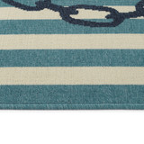 Navy and Light Blue Striped Anchors Aweigh Rug pile and edge