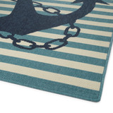 Navy and Light Blue Striped Anchors Aweigh Rug corner