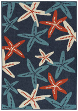 Red White and Blue Sea Stars Rug
