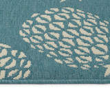 Light Blue Pineapple Party Rug edge and pile