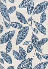 Indigo Blue Leaves Bodrum Area Rug