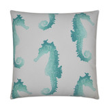 Turquoise Swimming Seahorse Luxury Outdoor Pillow