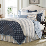 Prescott Navy Ticking Striped Duvet King Size Set  shown with accessories