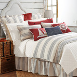 Prescott Navy Ticking Striped Duvet Queen Size Set  shown with accessories 1