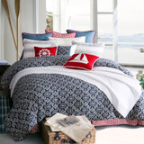 Chambray Blue and Red Houndstooth Euro Sham shown with St. Bedding