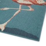 Light Blue Twin Flamingos Rug corner