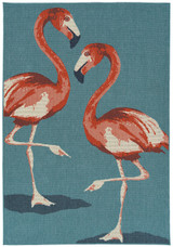 Light Blue Twin Flamingos Rug