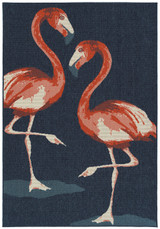 Navy Blue Twin Flamingos Rug