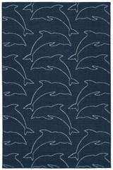 Navy Diving Dolphins Indoor-Outdoor Rug
