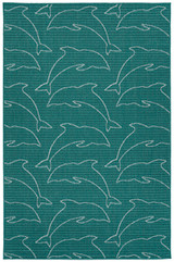 Teal Diving Dolphins Indoor-Outdoor Rug