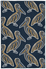 Navy Blue Pelican Flock Indoor-Outdoor Rug