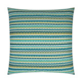 Bright Peacock Stripes Luxury Coastal Pillow