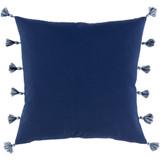Navy Castaway Nautical Tasseled 20 x 20 Pillow back of pillow