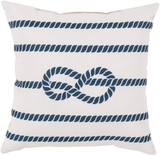Navy and White Rope Tied Outdoor Pillow
