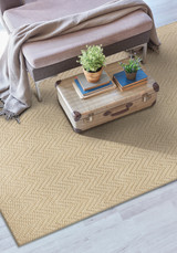 Ivory Herringbone Design Jute Area Rug room view