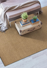 Natural Herringbone Design Jute Area Rug room view
