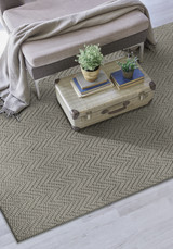 Grey Herringbone Design Jute Area Rug room view