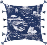 Navy Castaway Nautical Tasseled 22  x 22Pillow