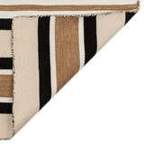 Cabana Black and Sisal Striped Rug corner and back