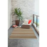 Cabana Black and Sisal Striped Rug patio view