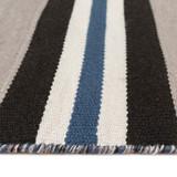 Cabana Navy Blues Striped Rug close up edge