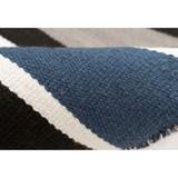 Cabana Navy Blues Striped Rug close up colors
