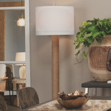 Cylinder Rope Floor Lamp Wrapped in Jute  room view