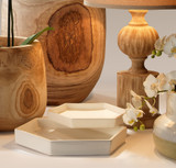 Large Porto Tray in White Ceramic room view with smaller version