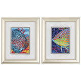 Bright Reef Framed Fish - Set of Two