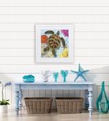 Bright Tropic Sea Turtle Framed Print