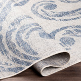 Malibu Blue Wave Swirls Rug fold