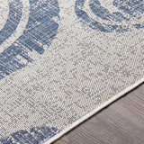 Malibu Blue Wave Swirls Rug edge