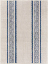 Malibu Boho Denim Blue Stripes Rug main image