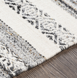 Azores Charcoal and Cream Striped Woven Rug  close up 2