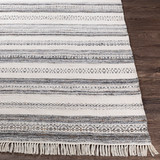 Azores Charcoal and Cream Striped Woven Rug  corner