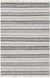 Azores Charcoal and Cream Striped Woven Rug main image