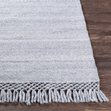 Azores Vapor Grey Braided Woven Rug corner fringe
