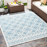 Montego Bay Blue Lattice Rug room view
