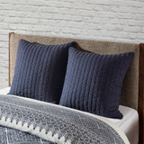 Camila Quilted Navy Euro Sham