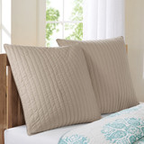 Camila Quilted Taupe Euro Sham