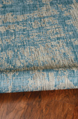 Teal Cloud View Casual Area Rug fold