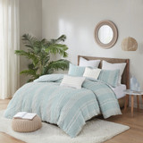 Kai Embellished Aqua Queen Duvet Set