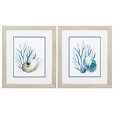 Blue Sea Shells and Seaweed Art